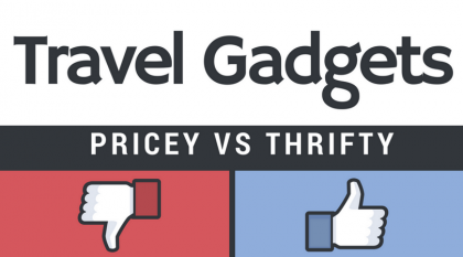 Travel gadgets inforgraphic - Pricey vs. Thrifty
